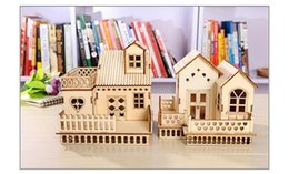 Wholesale Wholesale New Toys China - Wonderful Gifts 3D Toy House Doll Gothic Villa Educational Wooden Miniature Construction Kids Toys Wood Crafts Home Decor