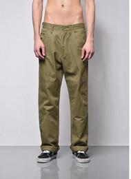 Pantalon large vert en Ligne-2018 printemps mode hommes japonais style lavé tissu pantalon à jambe large pantalon lâche occasionnel noir / pantalon de couleur vert armée