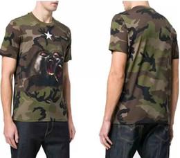 Wholesale Mens Camouflage Shirt Xl - Paris Luxury t shirts Mens Animal Printed Camouflage Tee T-shirts European American Designer Camo New 2018 Monkey Brothers jersey tshirt