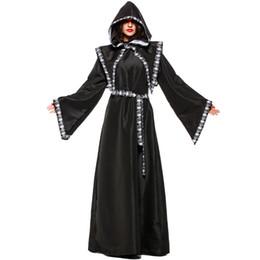 trajes de bruxa de halloween adulto Desconto Bruxa das bruxas das bruxas das bruxas das bruxas feiticeiro traje das bruxas das bruxas mulheres traje preto longo dress robe de bruxa trajes de halloween trajes