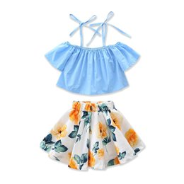 Wholesale piece apparel - Girls Childrens Clothing Sets Summer Suspender Tops Lemon Skirts 2Pcs Set Cotton Girl Kids Apparel Boutique Enfant Clothes Outfits