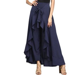 Wholesale wide leg pants skirt - Dear lover Wrap Skirts for Women 2018 New Casual Fashion Navy Chiffon Tie-Waist Ruffle Wide Leg Loose Pants LC77034 Black Grey