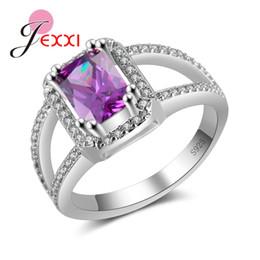 2020 anillo de plata piedras pequeñas Anillos de bodas de lujo JEXXI Piedras cúbicas púrpura con Pequeño blanco CZ hueco diseñado 925 Anillo de compromiso de las mujeres de plata de ley rebajas anillo de plata piedras pequeñas