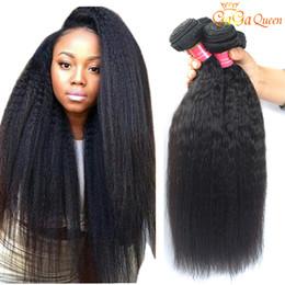 Wholesale Cheap Yaki Hair Weave - 8A Virgin Brazilian Kinky Straight Hair 3 Bundles Cheap Coarse Yaki Hair Weave Unprocessed Brazilian Kinky Straight Virgin Human Hair