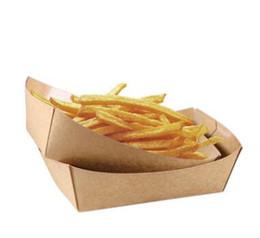 Pratos franceses on-line-Bandeja de comida de papelão Hot Dog batatas fritas Pratos pratos caixa de embalagem de alimentos descartáveis Louça Louça