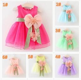 robes de baptême gonflées Promotion 6 couleur fille fleur peal bowknot dentelle robe princesse Fashion partie imprimer Rainbow couleurs tutu sans manches robe jupe