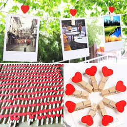 Wholesale Wooden Paper Clips - 50pcs bag Mini Heart Love Wooden Clothes Photo Paper Peg Pin Clothespin Craft Postcard Clips Home Wedding Decoration WX9-265