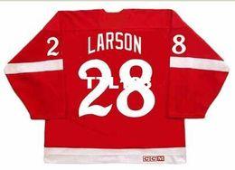 roseau rouge Promotion Hommes # 28 REED LARSON Red Wings Detroit 1982 CCM Vintage Hockey Jersey ou custom n'importe quel nom ou numéro rétro Jersey