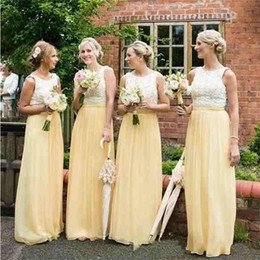 pink bridesmaid robes Coupons - 2019 Summer Modern A Line Bridesmaid Dresses Jewel Floor Length Lace Top Chiffon Skirt Wedding Guest Dresses robe de mariée
