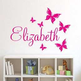 Wholesale Wall Stickers Name - Personalize Wall Sticker Butterflies Vinyl Art Decals Customized Name Wall Stickers For Bedroom Decor