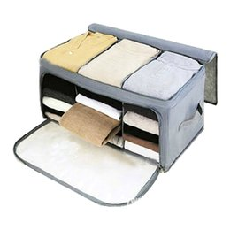 Wholesale charcoal quilt - 58 X 36 X 30cm Non-woven Dustproof Bamboo Charcoal Foldable Clothing Storage Bag Quilt Storage Case Bedding Organizer Container