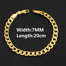 Wholesale offer gift - Special Offers 18K Yellow Gold 7MM 20CM Personality Man Cool Figaro Bracelet Chain for Men Nice Gift for Boy Friend