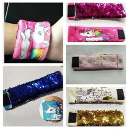 Wholesale Cute Cuffs - cute colour change sequins Unicorn Bracelet Reversible Mermaid Bracelet Wrap Bracelet Wristband Cuff Warp Braclets Wrist Band Jewelry