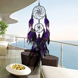 Wholesale hanging dream catcher - Feather Crafts Purple Dream Catcher Wind Chimes Handmade Dreamcatcher Net With Feather Beads for Wall Hanging Car Home Decor
