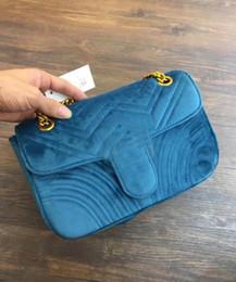 Wholesale Interior Design Pink - 27x18x8 cm MARMONT velvet Blue chain shoulder bag replica Famous brand design women Suede purse female bag