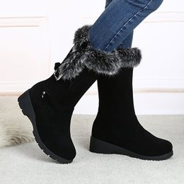 botas de invierno de las señoras más cálidas Rebajas MUQGEW 2018 Flock WomenAnkle Boots Ladies Winter Women Shoes Plus Velvet Wedge Platform Buckle Strap Winter Warm Snow Boots