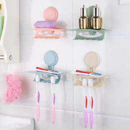Wholesale Family Bathrooms - Sucker Wall Hanging Toothbrush Holder Toothpaste Family Toothbrush Wall Mount Stand Bathroom Sucker Suction Organizer Rack 4 Colors OOA4400