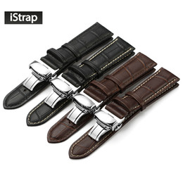 Wholesale Bracelet Butterfly Leather - Wholesale-iStrap Genuine Leather Watchband With Butterfly Buckle Bands Croco Grain Bracelet for Watch sized in 14 16 18 19 20 21 22 24 mm