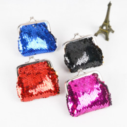 Wholesale wholesale clutch purse frames - Bamboo Charm Fashion Mini Women Purse Casual Metal Frame Coin Wallet Sequins Beading Small Lady Clutch Cubby Case Color Random