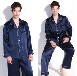 Reine seide nachthemden online-Gute Qualität 100% reiner Seide Herren Pyjama Set Nachtwäsche Nachthemd L XL 2XL YM009