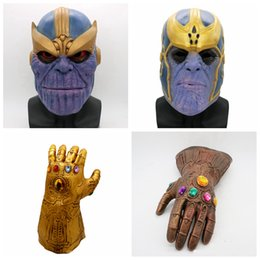 Wholesale latex film - Avengers 3 Infinity War mask gloves Children adult Halloween Helmet Full Face cosplay latex Infinity Gauntlet Toys Party Masks AAA436