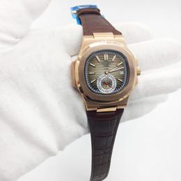 a461d711267 Marca de luxo Mens Watch Nautilus Automatic Mecânica Marrom pulseira de  couro Rose Gold Case Brown Dial Transparente Voltar Homens Relógios desconto  couro ...