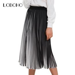Casual Pleated Skirts Womens 2018 Summer New Fashion Chiffon Long Skirt  Black And White Striped Elastic High Waist Skirt Women D1891705 8bda61baf