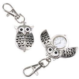 Wholesale Vintage Car Glass - Fashion Unisex Keychain Pocket Watch Metal Alloy Vintage Owl Shape Fob Watches Clock Bag Car Birthday Gifts LL@17