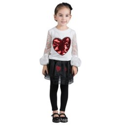 Wholesale Red Heart Lanterns - 2018 Spring gilrs lace embroidery T-shirt kids red sequins love heart T-shirt kids lace lantern sleeve Tees valentin's day clothing R2472