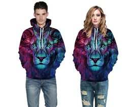 Wholesale galaxy print hoodie womens - 2018 3D Hoodies Mens Womens Casual Sweatshirts Space Galaxy wolf lion Print Hoodie Universe Graphic Unisex Pullover Tracksuit Fashion