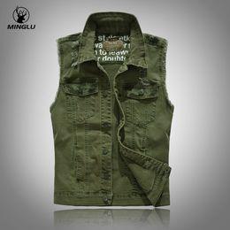 Wholesale Men Fashion Luxury Vest - Minglu LUXURY Men's Denim Vest Fashion Slim Fit Sleeveless Green Jackets Casual Hole Cowboy Waistcoat Brand Clothing Hot!!