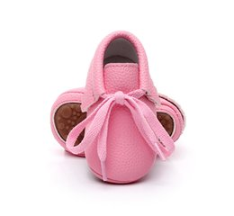 Wholesale Red Moccasin Boots - New candy colors Hard sole baby shoes lace-up soft Pu leather baby girls shoes fringe baby moccasins boots for 0-24 M 5pairs 10pcs