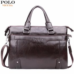 Wholesale Mens Laptop Briefcase - VICUNA POLO High Capacity Hollow Out Bottom Men's Leather Briefcase Bag For 14'' Laptop Vintage Business Leather Mens Handbags