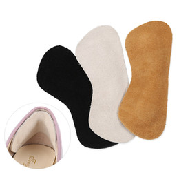 Wholesale invisible heels shoes - 5 Pairs Comfortable Cowhide Soft Cushion Protector Foot Care Invisible Insole Women High Heel Shoes Pads Self Adhesive Insoles