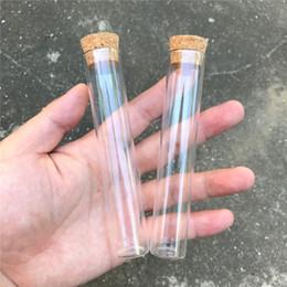 tubes à essai clairs Promotion 22 * 120mm 30ml bouteilles en verre claires et transparentes avec bouchon de liège flacons en verre pots de stockage bouteilles tube à essai pots 50pcs / lot