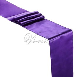 """Wholesale Purple Table Runners Wholesale - Free shipping Purple Satin Table Runner 12"""" x 108"""" Wedding Party Home Hotel Table Decor Suppies 30x275cm"""