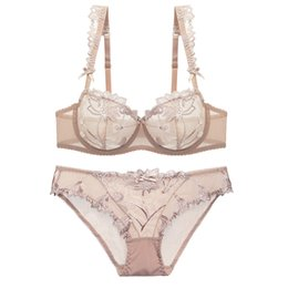 ba136ba6420e9 wholesale Ultra-thin Transparent Lingerie Bra Set Sexy Push Up Underwear  Plus Size Deep V Women Bralette Young Girl Bra Set