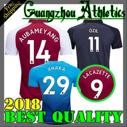 Wholesale Shirt Men Free - 2017 Gunners OZIL AUBAMEYANG soccer jersey 17 18 ALEXIS WILSHERE GIROUD LACAZETTE CHAMBERS XHAKA home away 3rd football shirt free shipping