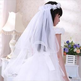 Véus de casamento de pérolas brancas on-line-Estoque 2018 Branco Longo Frisado Pérola Garland Tulle Flower girls véus para Véus De Aniversário De Casamento