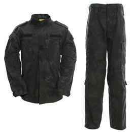 Trajes de combate negro online-TYPHON Combat Uniform Shirt Pants Kryptek BDU ACU SWAT Fuerzas especiales R6 Uniform Set Shirt Pants SWAT BLACK Combat Suit