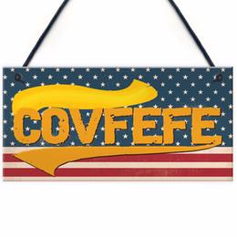 """Meijiafei Covfefe Sign Funny Donald Trump Tweet Presidente de los EE. UU. Gift Colgante de la placa America Man Cave 10 """"x5"""" desde fabricantes"""