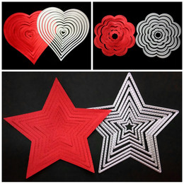 Wholesale Flower Die Cuts - Practical Scrapbook DIY Molds Five Pointed Star Love Heart Flower Shape Template Carbon Steel Embossed Cutting Dies Sturdy 11 8ws4 B
