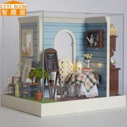 Wholesale Miniature Wood Light House - Assemble DIY Doll House Toy Wooden Miniatura Doll Houses Miniature Dollhouse toys With Furniture LED Lights Birthday Gift Z002