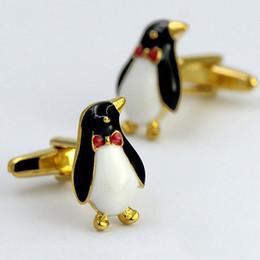 gemelli in oro bianco per gli uomini Sconti enfants \ mens del fumetto simpatici pinguini animali polsini eleganti bottoni gemelli oro rosso arco placcato barocco per studenti \ gentiluomo \ figlio \ ninos