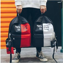 street backpack Promo Codes - Vogue Casual Contrast Color Backpack Student Cool Street Style Canvas Backpack Unisex Letter Printed School Bag With Pencil Bag