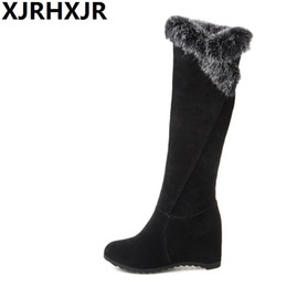 7ce035daa572 XJRHXJR Size34-43 Faux Fur Flat Hidden Heels Long Boots Women Fashion Wedges  Knee High Warm Shoes Ladies Winter Plush Snow Boots
