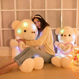 Wholesale china wholesale kids toys - Teddy Bear Doll Creative Inductive Plush Toys Colorful Stuffed Lovely LED Glowing Gifts For Kids Christmas Hot Sale 15bd YY