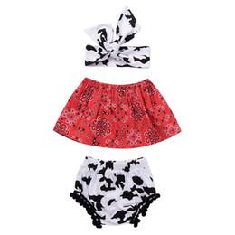 Wholesale Baby Sunsuit - 3PCS Girls Set Newborn Baby Girl Clothes 2018 Summer Cute Baby Sleeveless Crop Tops + Tassel Shorts Bottom + Headband Girls Outfits Sunsuit