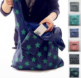 полосатый магазин Скидка 6styles Складные многоразовые хозяйственные сумки Eco Хранение Продуктовые сумки звездная полоса Точечная печать Сумочка для покупок 53 * 35 см FFA761 120шт.