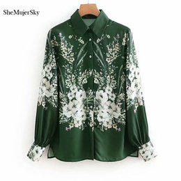 Canada SheMujerSky Green Shirts femmes blouse à manches longues floral col rabattu Tops blusas femininas Offre